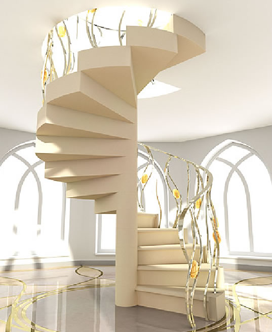 Staircase With Shape Spiral Design Design