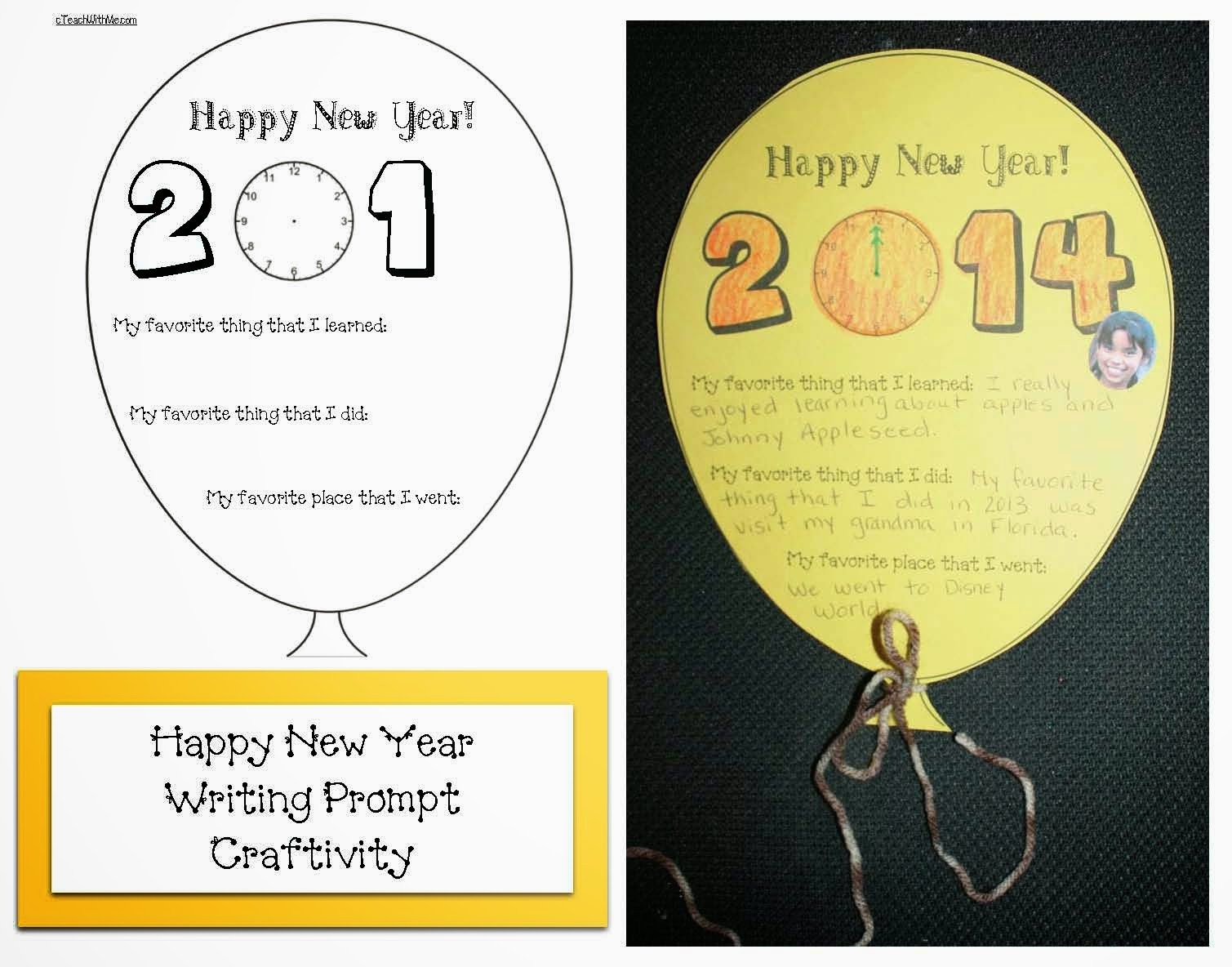Classroom Freebies Happy New Year Writing Prompt Balloon Craftivity