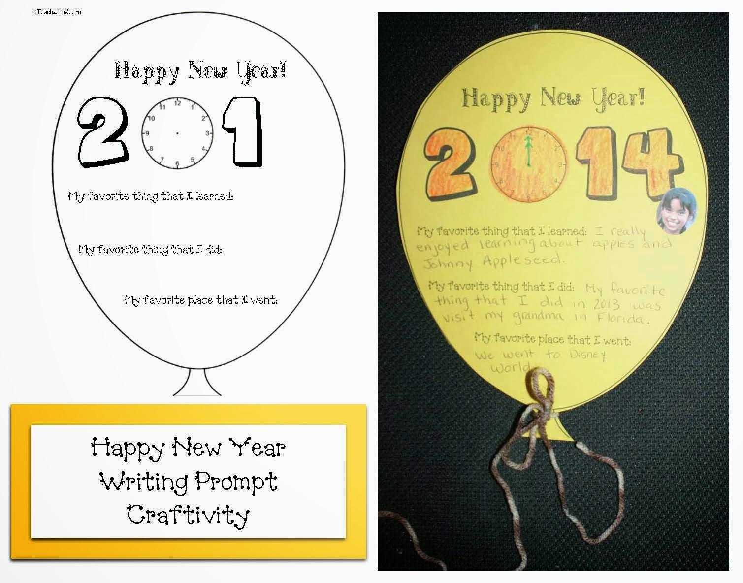 Classroom Freebies Happy New Year Writing Prompt Balloon Craftivity