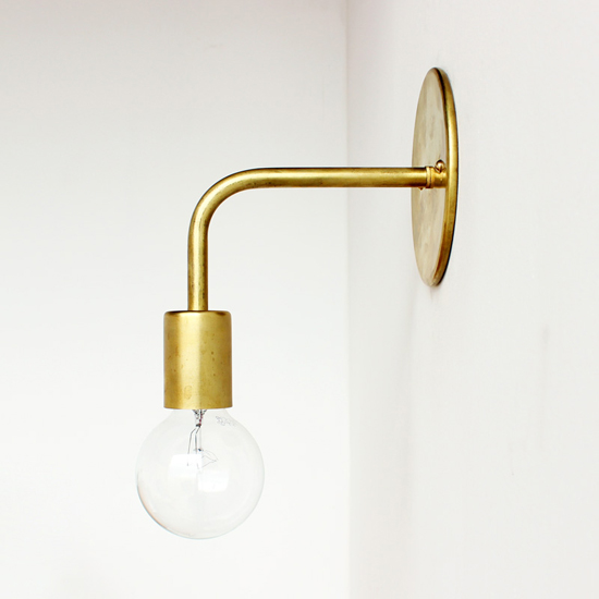 Handmade brass wall sconce by onefortythree