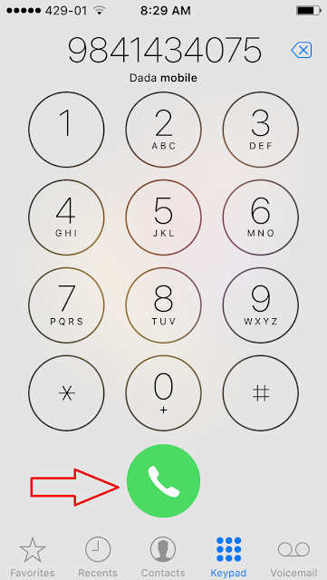 Tap the green call button again to make the call or simply redial the number.