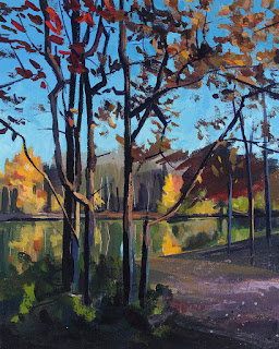 Acrylic painting of autumn leaves at Lake Audubon at Walton Woods park.