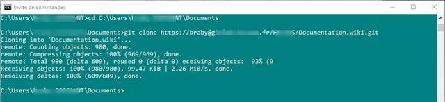Clone de mon Wiki avec Git - Oui je sais ma console est verte