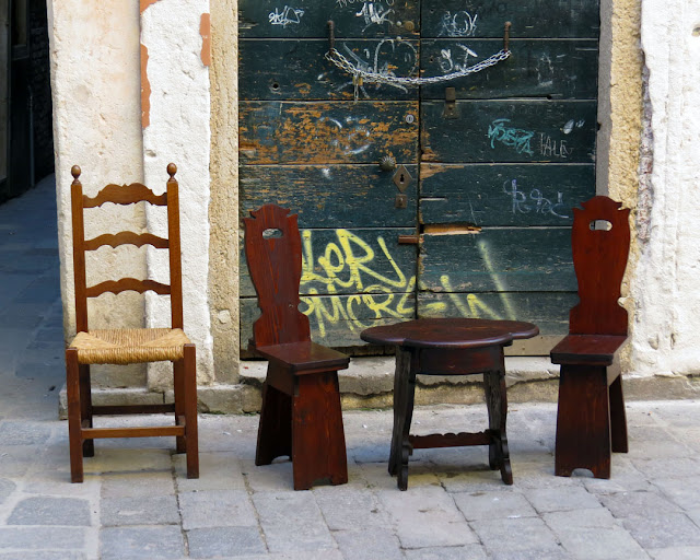 Old-fashioned wooden chairs, Campiello del Sol, Rialto, Venice