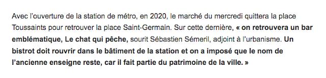 « Le bar Le chat qui pêche, détruit pour le métro, va revivre... » - Ouest-France du 11 septembre 2018