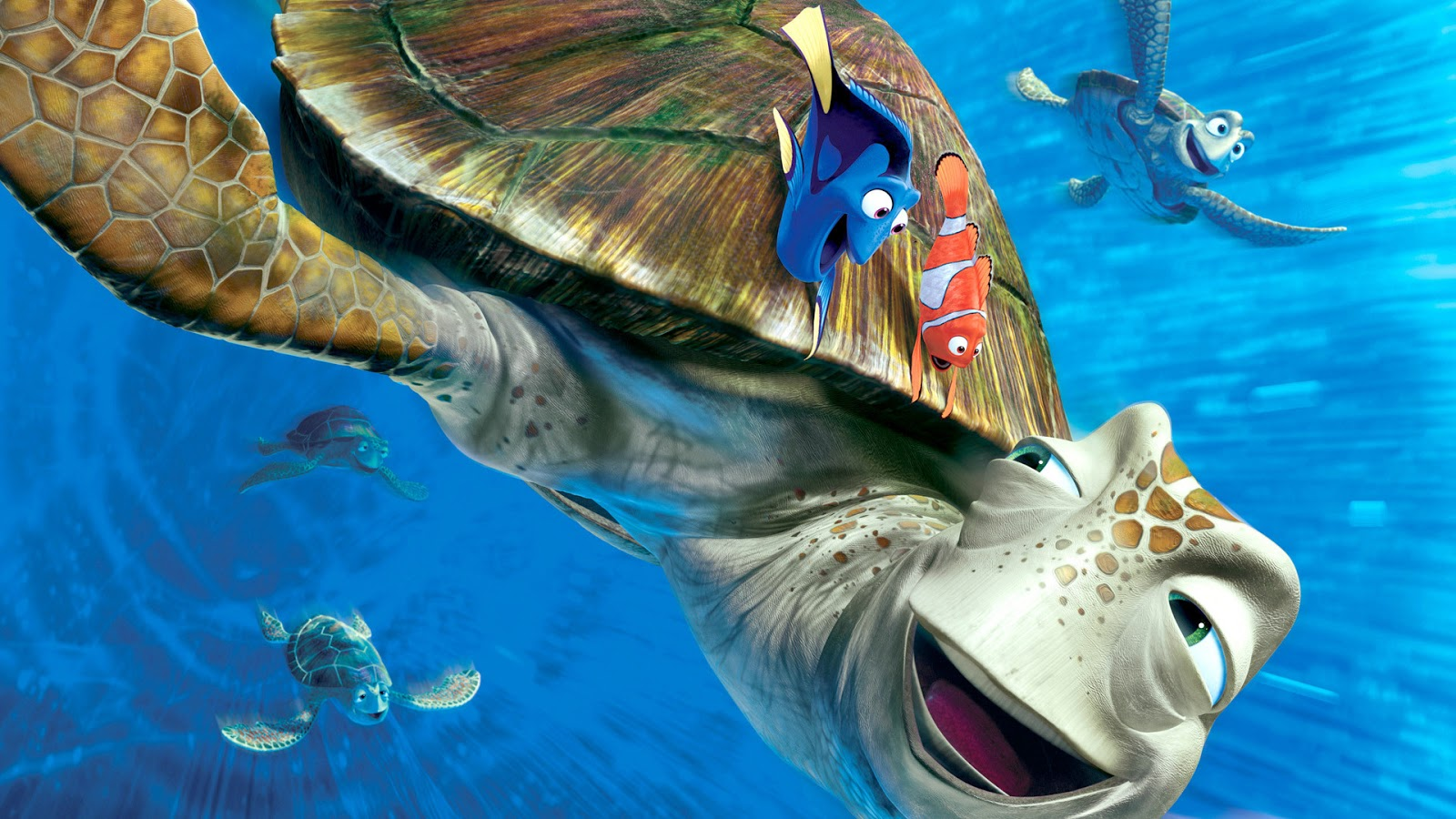 sea turtle in Finding Nemo 2003 animatedfilmreviews.filminspector.com
