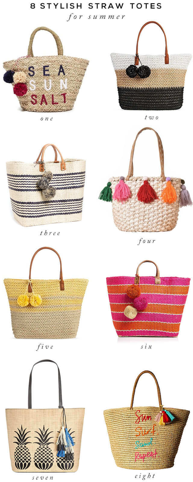 8 Style Straw Totes For Summer
