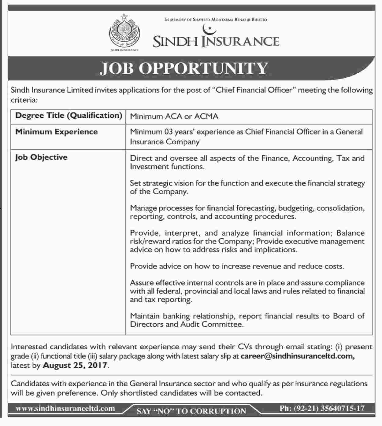 Jobs In Sindh Insurance Limited  Aug 2017