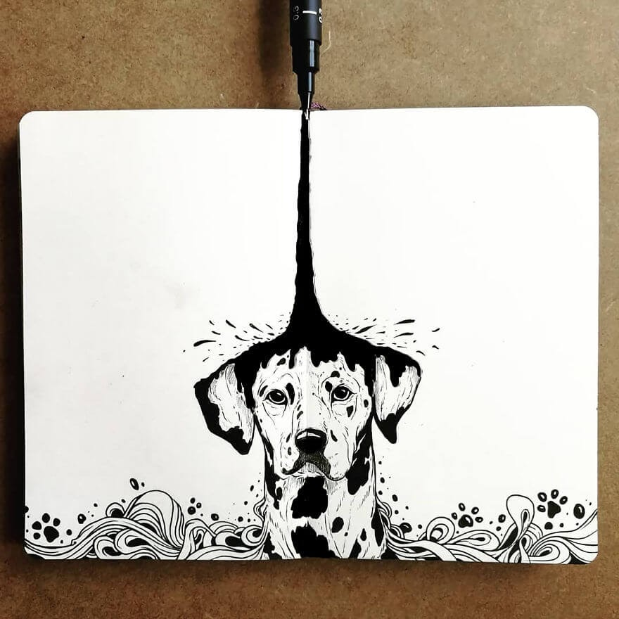 01-The-Origin-Of-The-Spots-Dalmatian-Bráulio-Monteiro-Moleskine-Pen-and-Ink-Animal-Illustrations-www-designstack-co