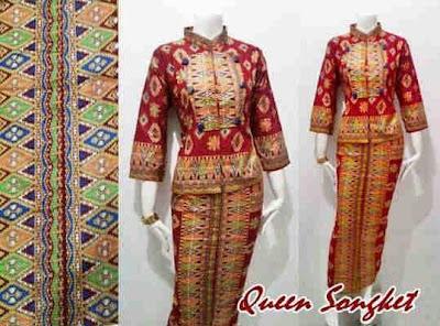 Model Setelan Baju Batik Songket Elegan Terbaru