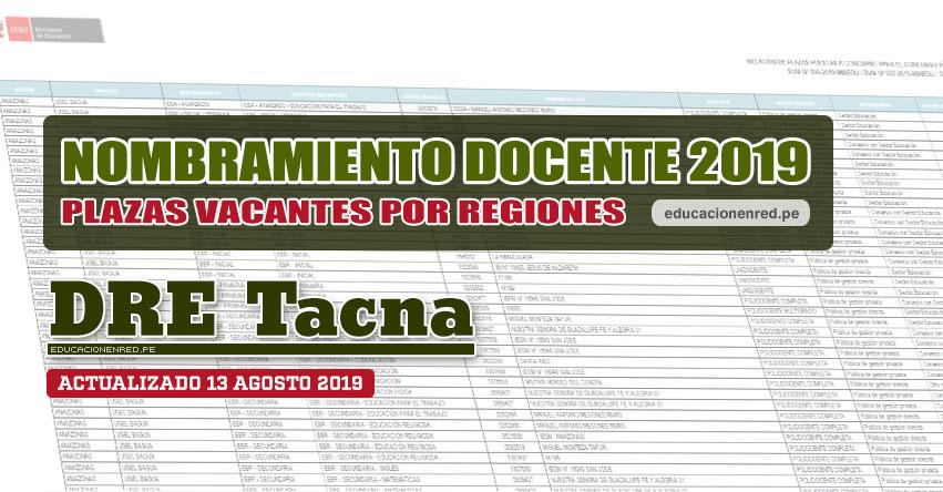 DRE Tacna: Plazas Vacantes para Nombramiento Docente 2019 (.PDF ACTUALIZADO MARTES 13 AGOSTO) www.educaciontacna.edu.pe