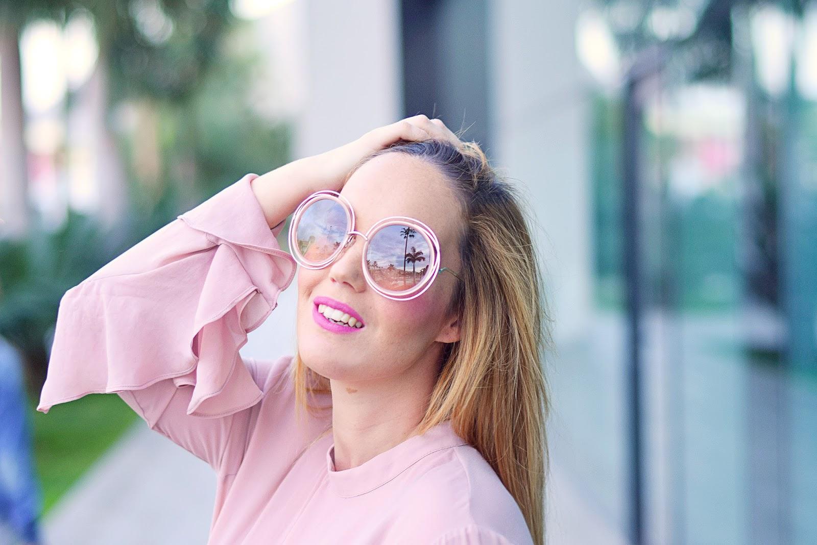 Blusa de volantes, rosa empolvado, nery hdez, gafas chloé, gafas chloé jennifer lopez, opticalh, miu miu,