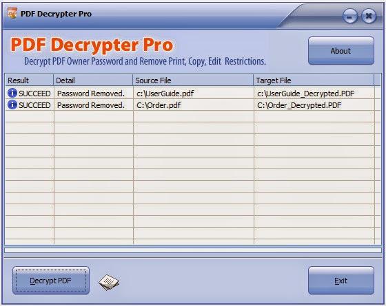 PDF Decrypter Pro (Windows & Mac OS X) - Remove PDF owner 1