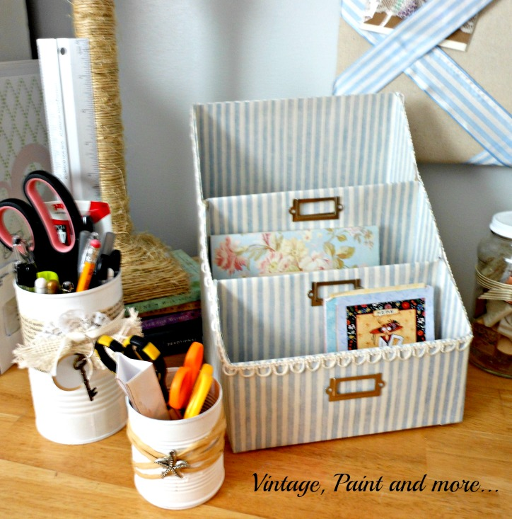 Vintage, Paint and more... paper organizer made with cereal boxes and scrapbook papers