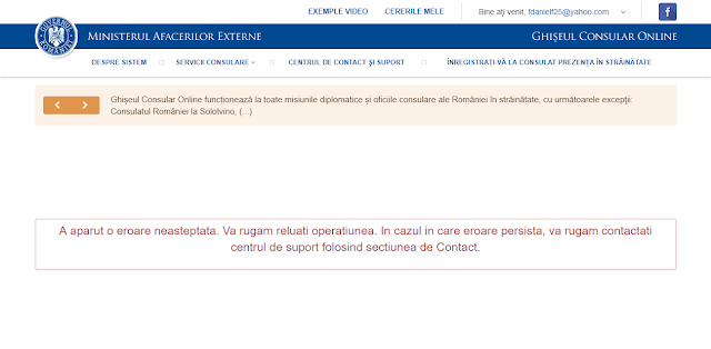 disfunctionalitatile serviciului eConsulat.ro