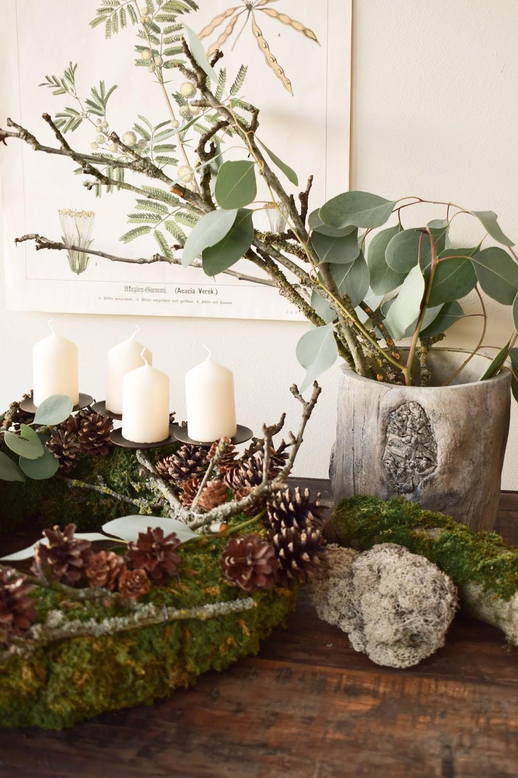 adventskranz aus moos eukalyptus zapfen und holz. Black Bedroom Furniture Sets. Home Design Ideas