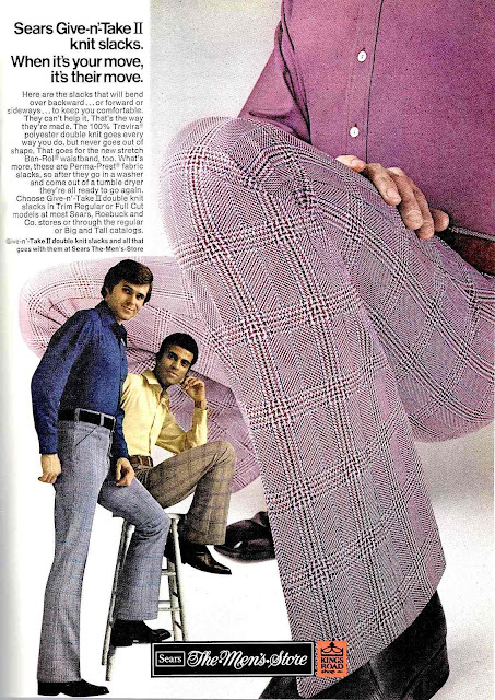 advertisement for 1972 men's purple knit slacks