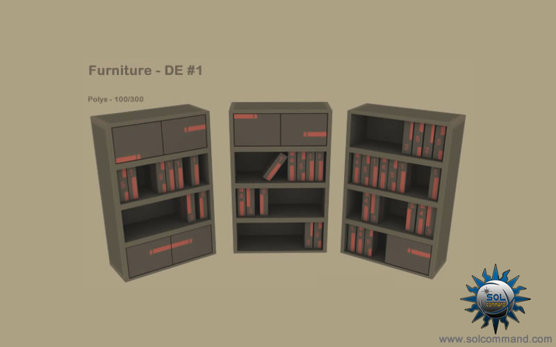 Furniture deus ex free download 3d model human revolution low poly game ready books shelvs