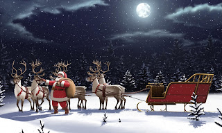 Santa Claus with his bag in reindeer sleigh Christmas night - 5000x3000