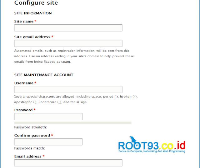 Konfigurasi site drupal 8