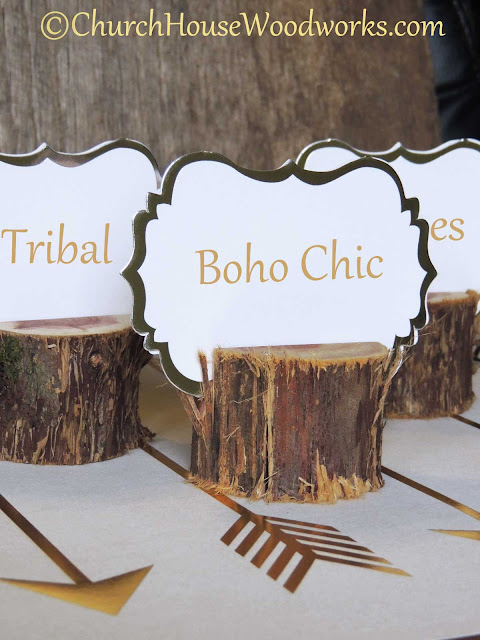 Boho Chic Rustic Cedar Place Card Holders- Party Centerpiece Decorations - The Iced Sugar Cookie