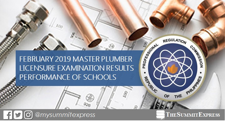 February 2019 Master Plumber board exam result: performance of schools