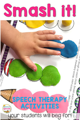 How you can use hands-on speech and language activities like this fun ice cream scoop smash mat for SK blends to keep wiggly children engaged in your speech therapy groups.  www.speechsproutstherapy.com