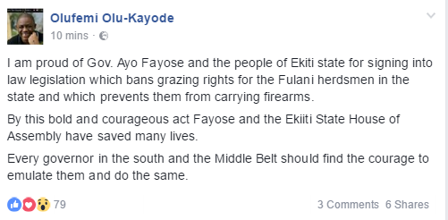 """I am proud of him"" - FFK commends Gov. Fayose for signing Ekiti state's Open Grazing prohibition bill into law"