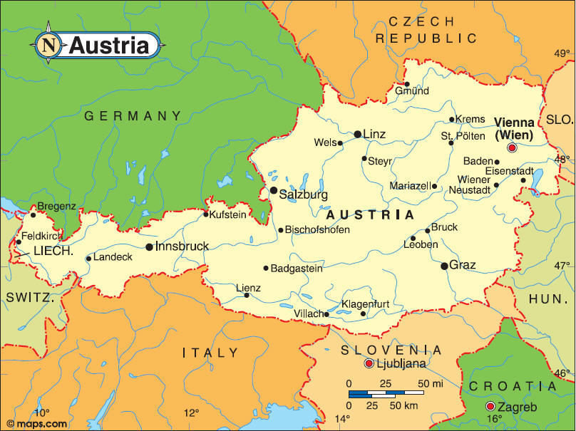 Map of Austria Geography Area Map of Austria Region