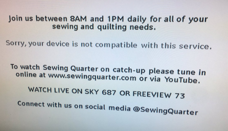 Join us between 8AM and 1PM daily for all of your sewing and quilting needs. Sorry, your device is not compatible with this service.