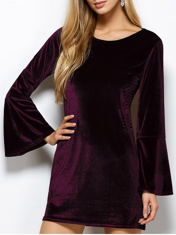 Flare Sleeve Back Cut Out Velvet Dress - Purplish Red