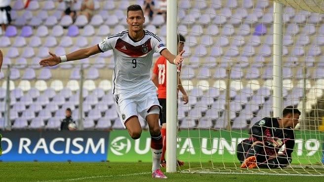 0c71ad7567 Selke comemora após abrir o placar. Atacante alemão é o artilheiro da Euro  sub-19 2014 (Sportsfile)