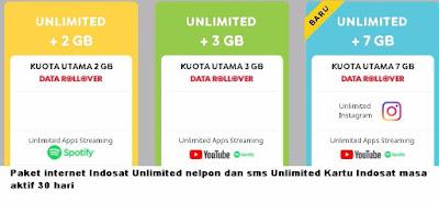 Kebutuhan internet saat ini bagaikan makan pokok sehari hari Paket internet Indosat Unlimited nelpon dan sms Unlimited Kartu Indosat masa aktif 30 hari