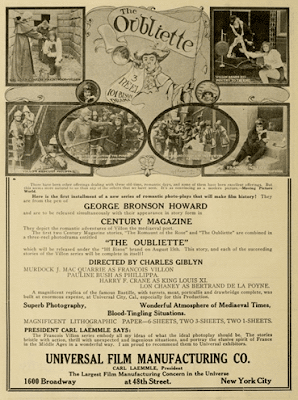 Ad for the Francois Villon movie serial authored by George Bronson-Howard