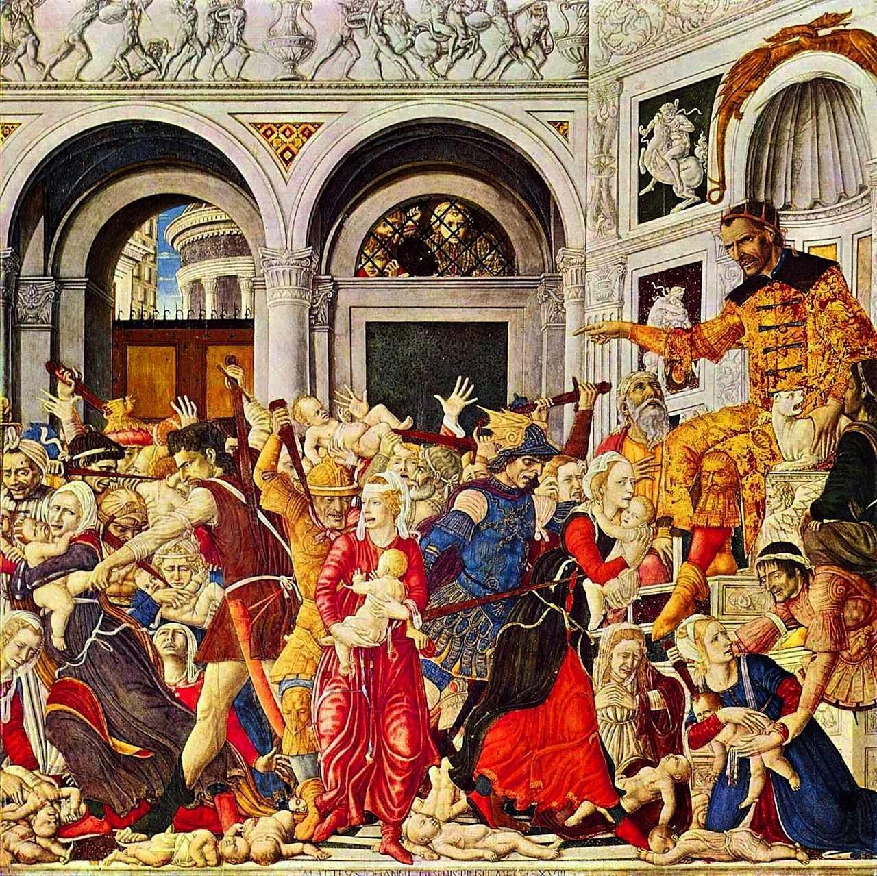Herodes ordena o massacre dos Santos Inocentes. Matteo di Giovanni, Galleria Nazionale di Capodimonte.