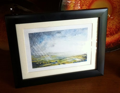 Water Colour landcape Sketch for sale of Poole harbour from the Purbeck Hills Dorset