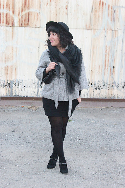 Gap Tweed Coat and DVF Mini Skirt Winter Office Outfit