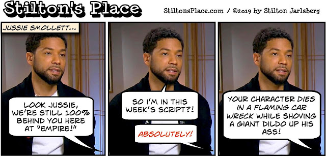 stilton's place, stilton, political, humor, conservative, cartoons, jokes, hope n' change, jussie smollett, hoax, empire, lefty lucy, racist, shit stain