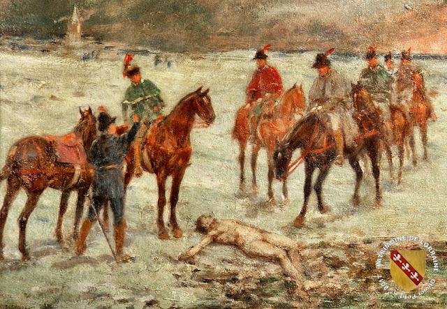 Tableau d'Emile Chepfer : Le corps du Téméraire retrouvé près de l'étang Saint-Jean