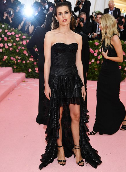 Charlotte Casiraghi wore a dress by Yves Saint Laurent. The dress by Saint Laurent designed by Anthony Vaccarello