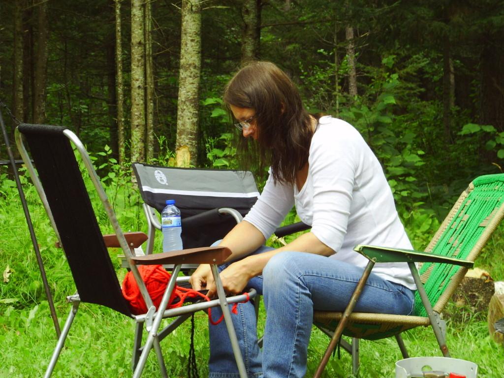 reweaving a woven macrame lawn chair