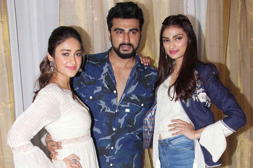 Ileana, Arjun Kapoor and Athiya Shetty During 'Mubarakan' Promotion at JW Marriott Hotel