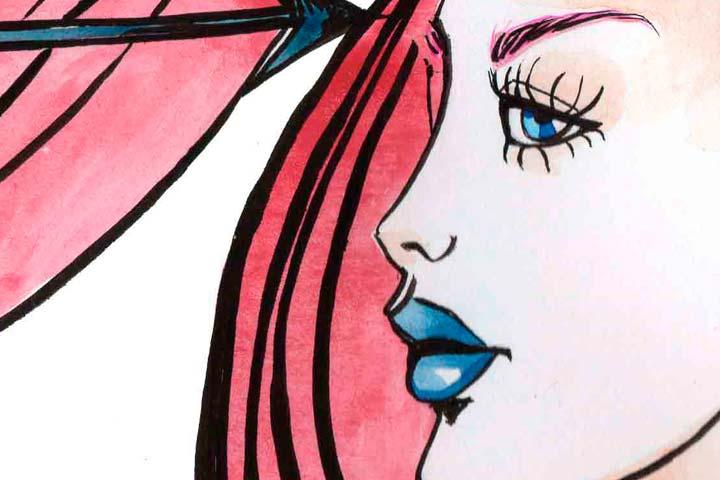 Ilustración, Azul y rojo de Paula Acero