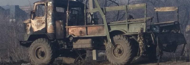 Наслідки влучення ПТКР у вантажівку ЗСУ 10 березня