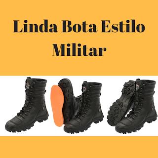 Bota estilo militar e motocicleta
