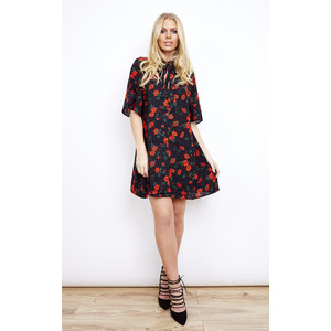 Black and red Spanish floral tie front dress, $43 from Glamorous