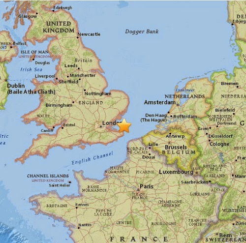 london earthquake epicenter map