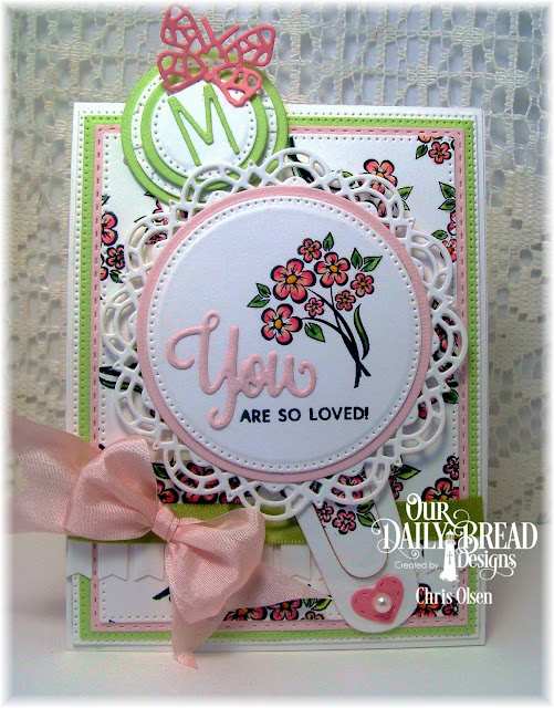 Our Daily Bread Designs,  You Bless Me So stamp set, Bitty Border dies, Alphabet dies, Bitty Butterflies dies, Mini Stitched Hearts dies, Pierced Circles dies, Pierced Rectangles, Double Stitched Rectangles, Circles, Doily and Bookmarks die, designed by Chris Olsen