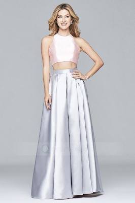 Princess Floor-length Crossed Straps Back Two Piece Dress with Two Tone