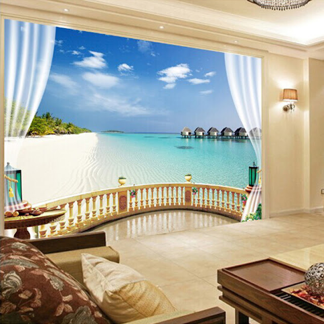 Tropical Wall Murals Beach Ocean 3D Photo Wallpaper Balcony View Window